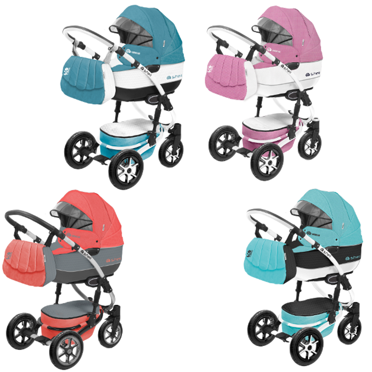 shell kombi kinderwagen 2in1 oder 3in1 mit babywanne sportwagenaufsatz buggy babyschale. Black Bedroom Furniture Sets. Home Design Ideas