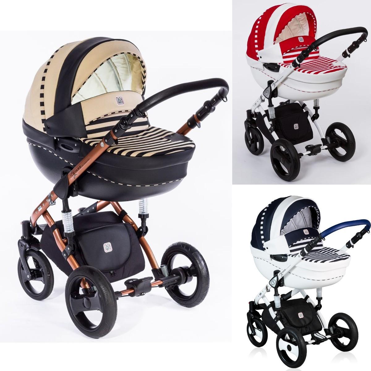 Dada Paradiso Stars 2in1 mit Babywanne + Sportwagenaufsatz / Buggy oder 3in1 + Babyschale / Autoschale, 3 Farben