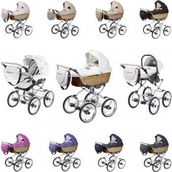 Ballerina Weidenkorb dunkel Kombi Kinderwagen, konfigurierbar als 2in1 mit Babywanne + Sportwagenaufsatz oder 3in1+ Babyschale, 9 Farben