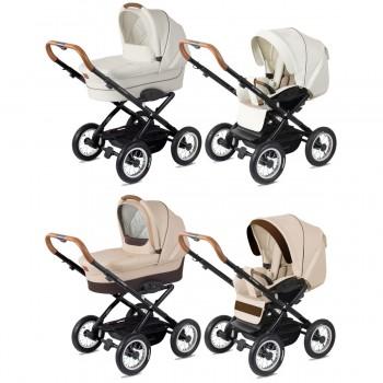 Platzspar Kinderwagen Navington Corvet aus Eco-Leder, variabel konfigurierbar nur mit Wanne oder als 2in1 mit Babywanne & Sportwagenaufsatz / Buggy, 2 Farben