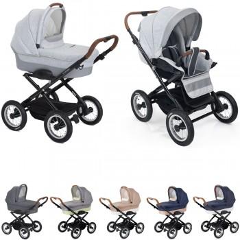 Platzspar Kinderwagen Navington Corvet Stoff, individuell konfigurierbar nur mit Wanne oder als 2in1 mit Babywanne & Sportwagenaufsatz / Buggy, 6 Farben