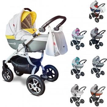 Tutek Grander Play Eco-Leder Kombi Kinderwagen, 2in1 mit Babywanne + Sportwagenaufsatz / Buggy oder 3in1 + Babyschale / Autoschale, 8 Farben