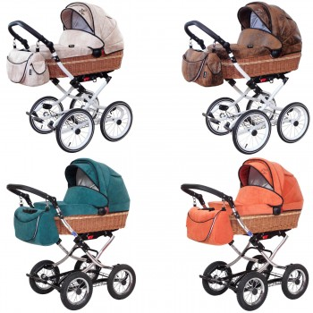 Zekiwa retro Kinderwagen Nature mit Wanne oder mit Babyschale, 3 Farben