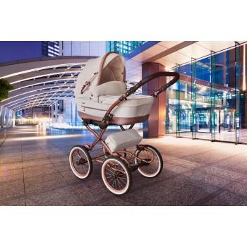 Tutek Turran Silver Eco-Leder Prestige limited edition Kombi Kinderwagen, 2in1 mit Babywanne + Sportwagenaufsatz / Buggy oder 3in1 + Babyschale / Autoschale