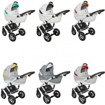 Tutek Tirso Eco-Leder Kombi Kinderwagen, 2in1 mit Babywanne + Sportwagenaufsatz / Buggy oder 3in1 + Babyschale / Autoschale, 6 Farben