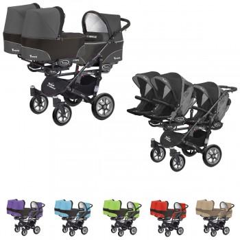 Trippy Drillings-Kombi-Kinderwagen 2in1 Set, 3 Babywannen + 3 Sportwagenaufsätze / Buggies, 6 Farben, Gestell schwarz
