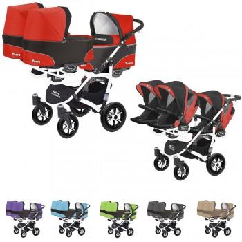 Trippy Drillings-Kombi-Kinderwagen 2in1 Set, 3 Babywannen + 3 Sportwagenaufsätze / Buggies, 6 Farben, Gestell weiß