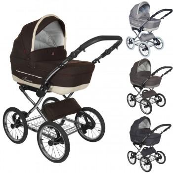 Tutek Turran Silver Kombi Kinderwagen, 2in1 mit Babywanne + Sportwagenaufsatz / Buggy oder 3in1 + Babyschale / Autoschale, 4 Farben