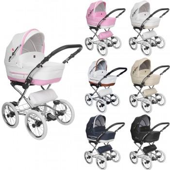 Tutek Turran Silver Eco-Leder Kombi Kinderwagen, 2in1 mit Babywanne + Sportwagenaufsatz / Buggy oder 3in1 + Babyschale / Autoschale, 7 Farben