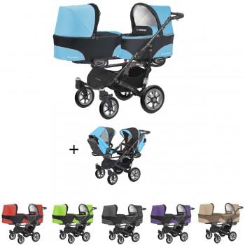 Twinni Zwillings Geschwister Kombi-Kinderwagen Set 2in1 mit 2 Babywannen + 2 Sportwagenaufsätzen / Buggies, Gestell schwarz, 6 Farben