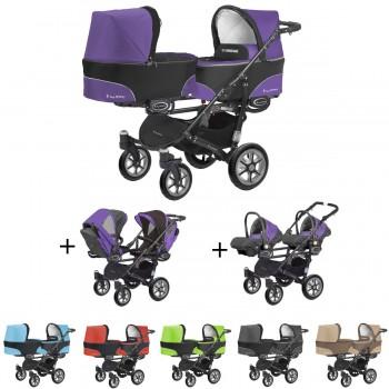 Twinni Zwillings Geschwister Kombi-Kinderwagen 3in1 Komplettset mit 2 Babyschalen + 2 Babywannen + 2 Sportaufsätzen, Gestell schwarz, 6 Farben