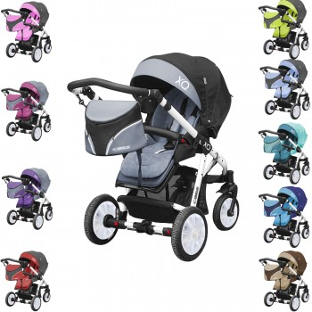 Komfort Buggy / Sportwagen XQ kombinierbar mit Babyschale, Gestell weiß, 10 Farben