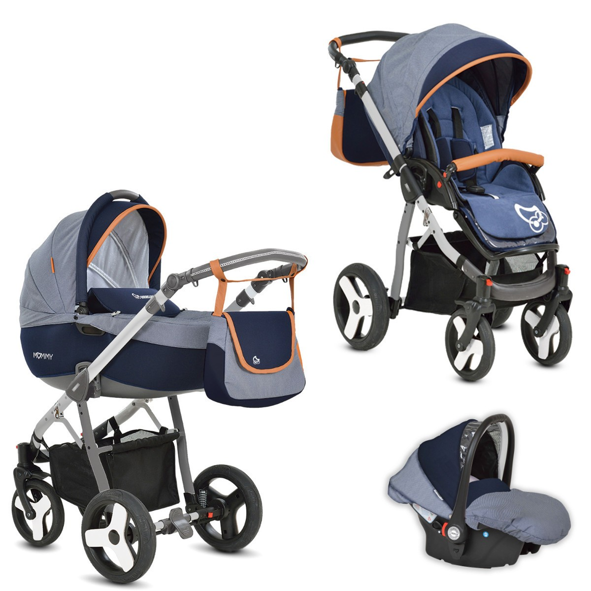 mommy kombi kinderwagen 2in1 mit babywanne. Black Bedroom Furniture Sets. Home Design Ideas