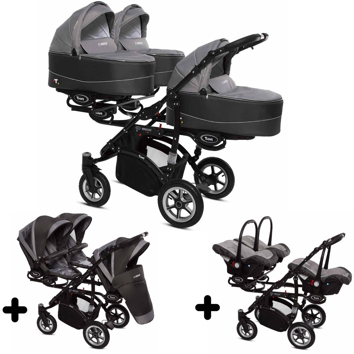 trippy drillings kombi kinderwagen 3in1 set mit 3 babyschalen 3 babywannen 3 sportaufs tzen. Black Bedroom Furniture Sets. Home Design Ideas