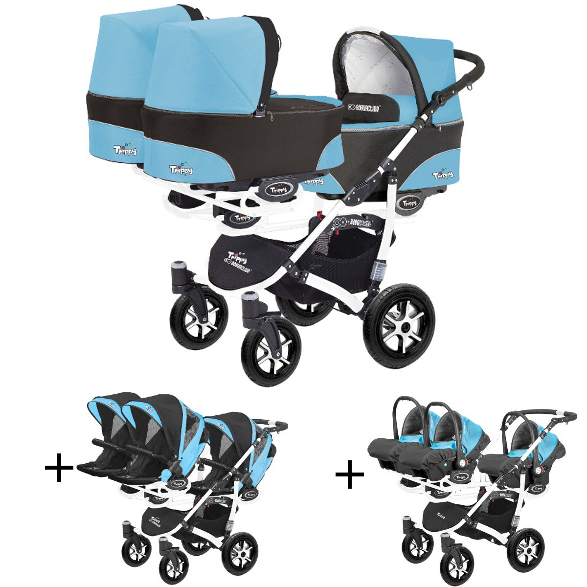 trippy drillings kombi kinderwagen 3in1 komplettset mit babyschalen. Black Bedroom Furniture Sets. Home Design Ideas