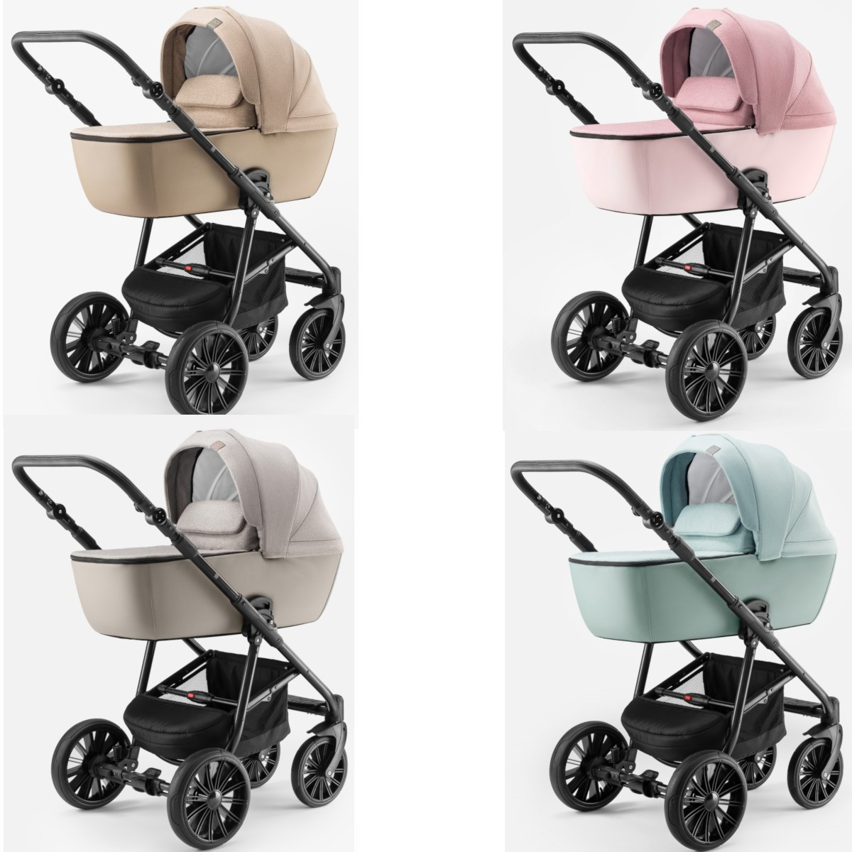 Dada Paradiso Apus 2in1 mit Babywanne + Sportwagenaufsatz / Buggy oder 3in1 + Babyschale / Autoschale, 4 Farben