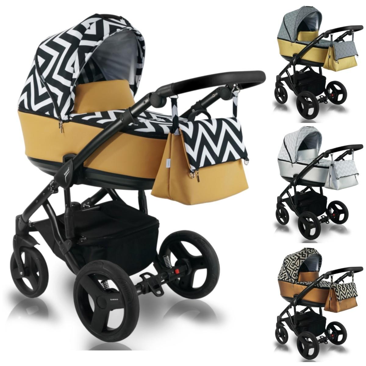 Bexa Light Kinderwagen mit Babywanne, 2in1 mit Babywanne + Sportwagenaufsatz oder 3in1 + Babyschale, Autoschale, 2 Farben