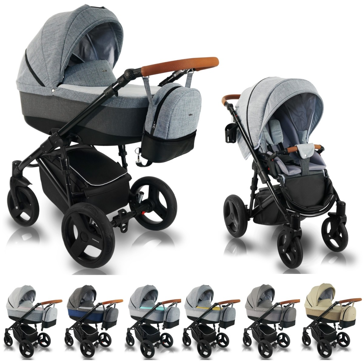 Bexa Ultra New Kombi Kinderwagen, 2in1 mit Babywanne + Sportwagenaufsatz / Buggy oder 3in1 + Babyschale / Autoschale, 7 Farben