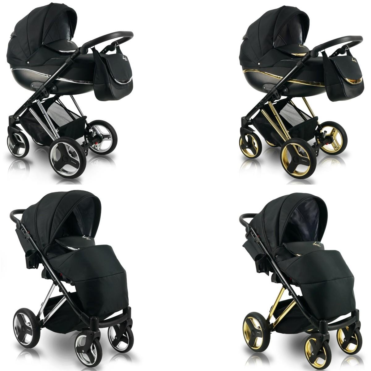 Bexa Next Metallic Kombi Kinderwagen, 2in1 mit Babywanne + Sportwagenaufsatz / Buggy oder 3in1 + Babyschale / Autoschale, 2 Farben