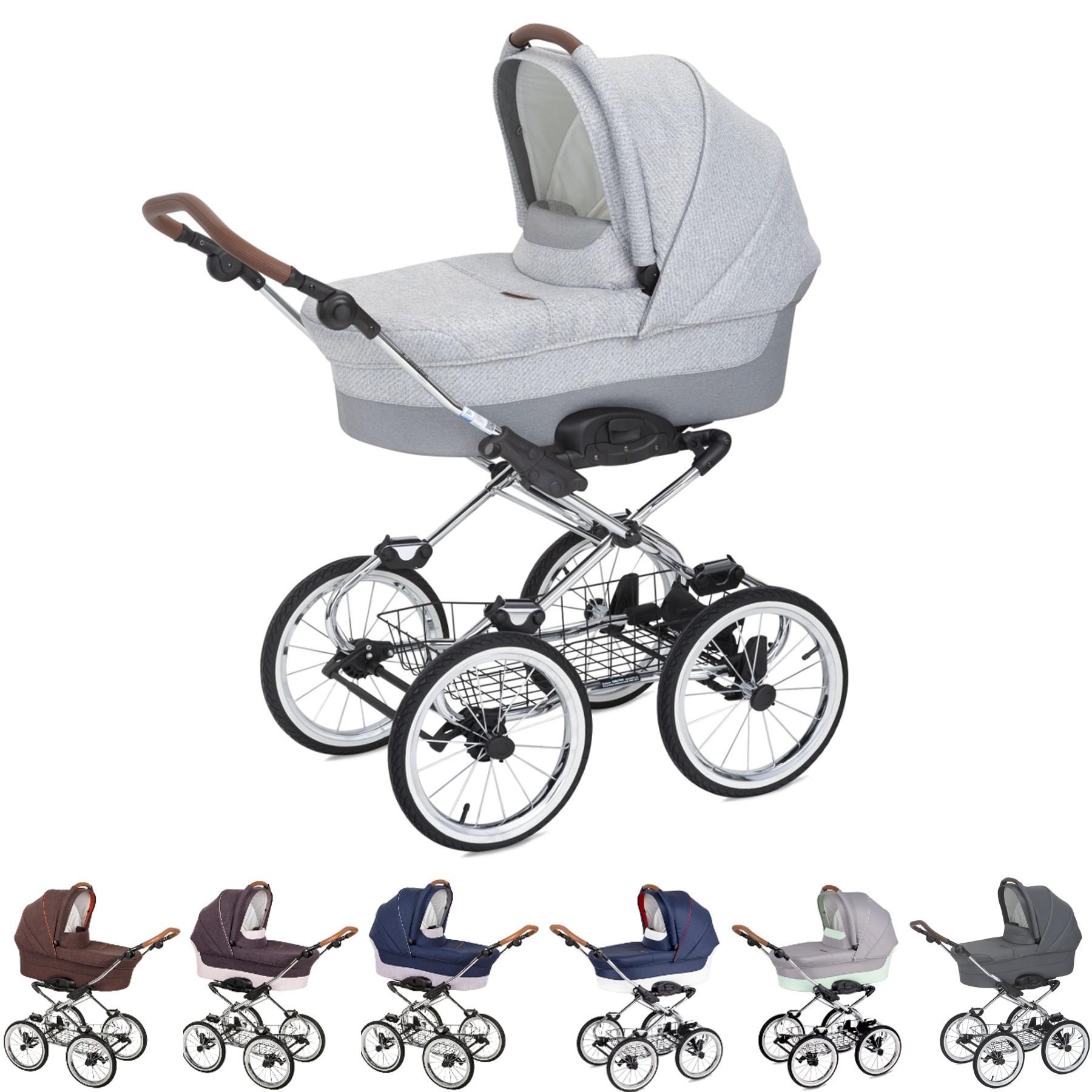 Luxus retro Kombi-Kinderwagen Navington Caravel Stoff mit Babywanne & Wickeltasche, 4 Farben