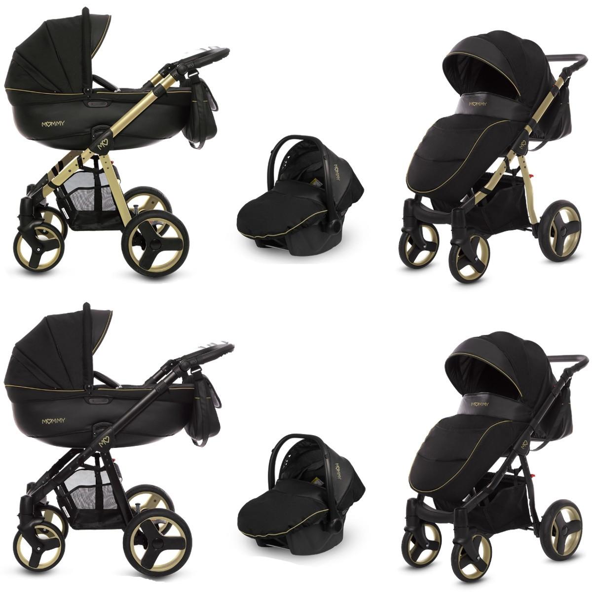 MOMMY Kombi Kinderwagen 2in1 mit Babywanne + Sportwagenaufsatz / Buggy oder 3in1 + Babyschale / Autoschale, gold magic