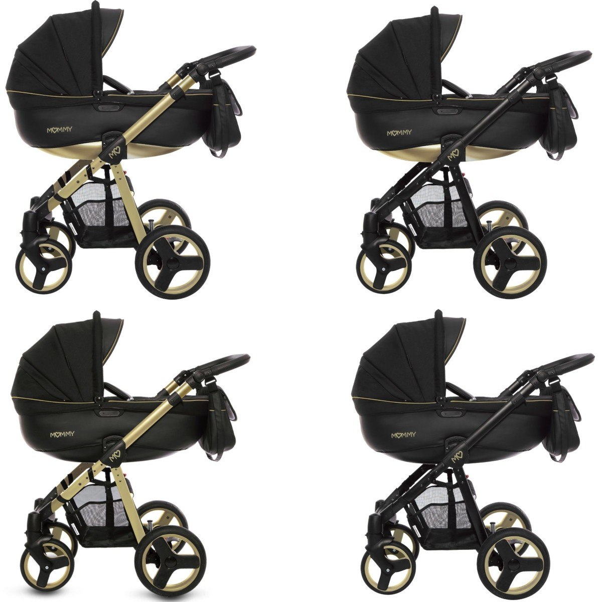 MOMMY Gold Magic Kombi Kinderwagen 2in1 mit Babywanne + Sportwagenaufsatz / Buggy oder 3in1 + Babyschale / Autoschale, 2 Farben