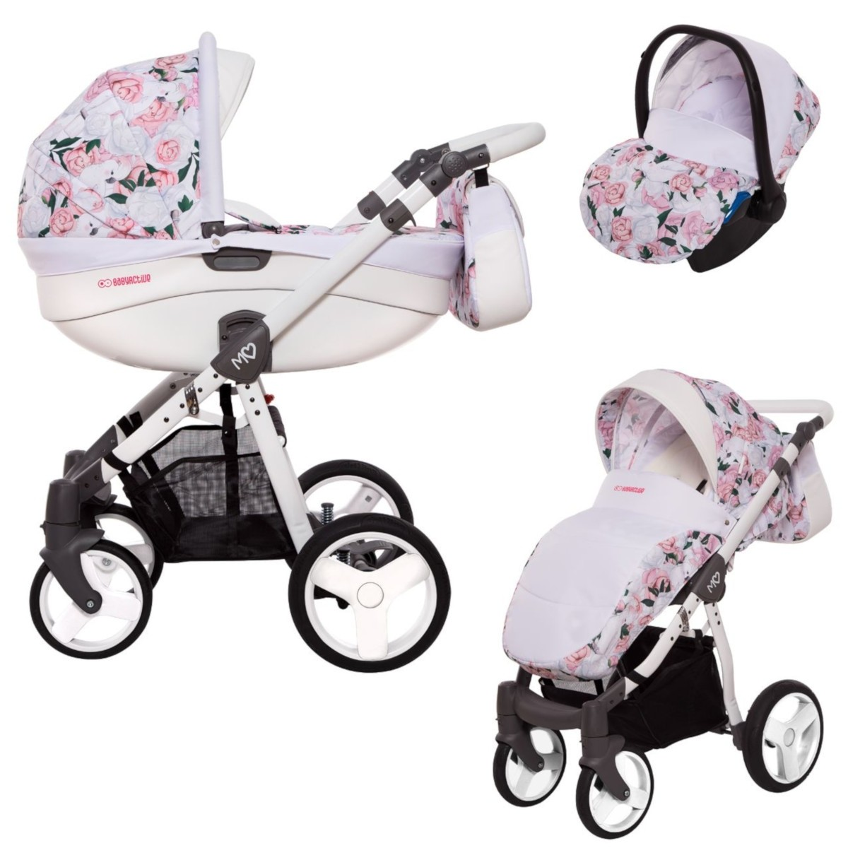 MOMMY Kombi Kinderwagen 2in1 mit Babywanne + Sportwagenaufsatz / Buggy oder 3in1 + Babyschale / Autoschale, Peony - Pfingstrose