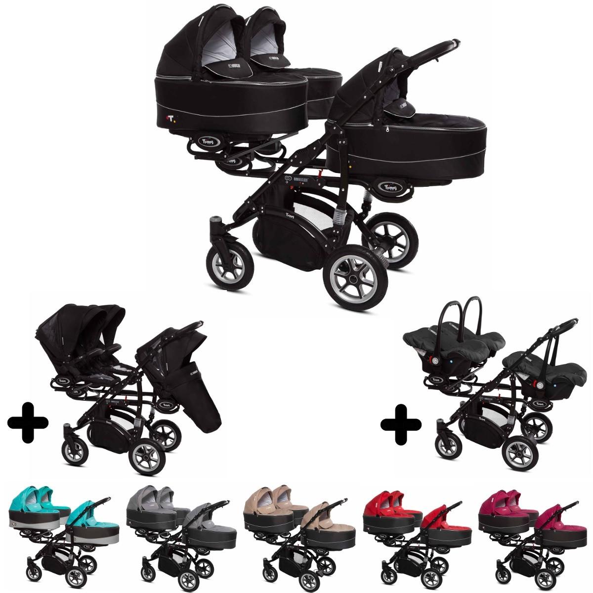 Trippy Drillings-Kombi-Kinderwagen 3in1 Set mit 3 Babyschalen + 3 Babywannen + 3 Sportaufsätzen, 6 Farben, Gestell schwarz, Kollektion 2018