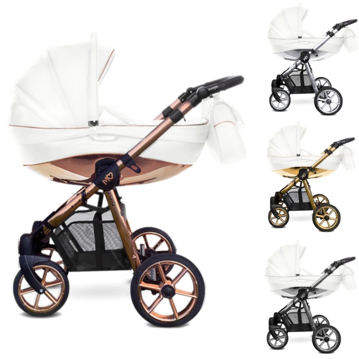 MOMMY Glossy Kombi Kinderwagen 2in1 mit Babywanne + Sportwagenaufsatz / Buggy oder 3in1 + Babyschale / Autoschale, weiss mit 4 Farben