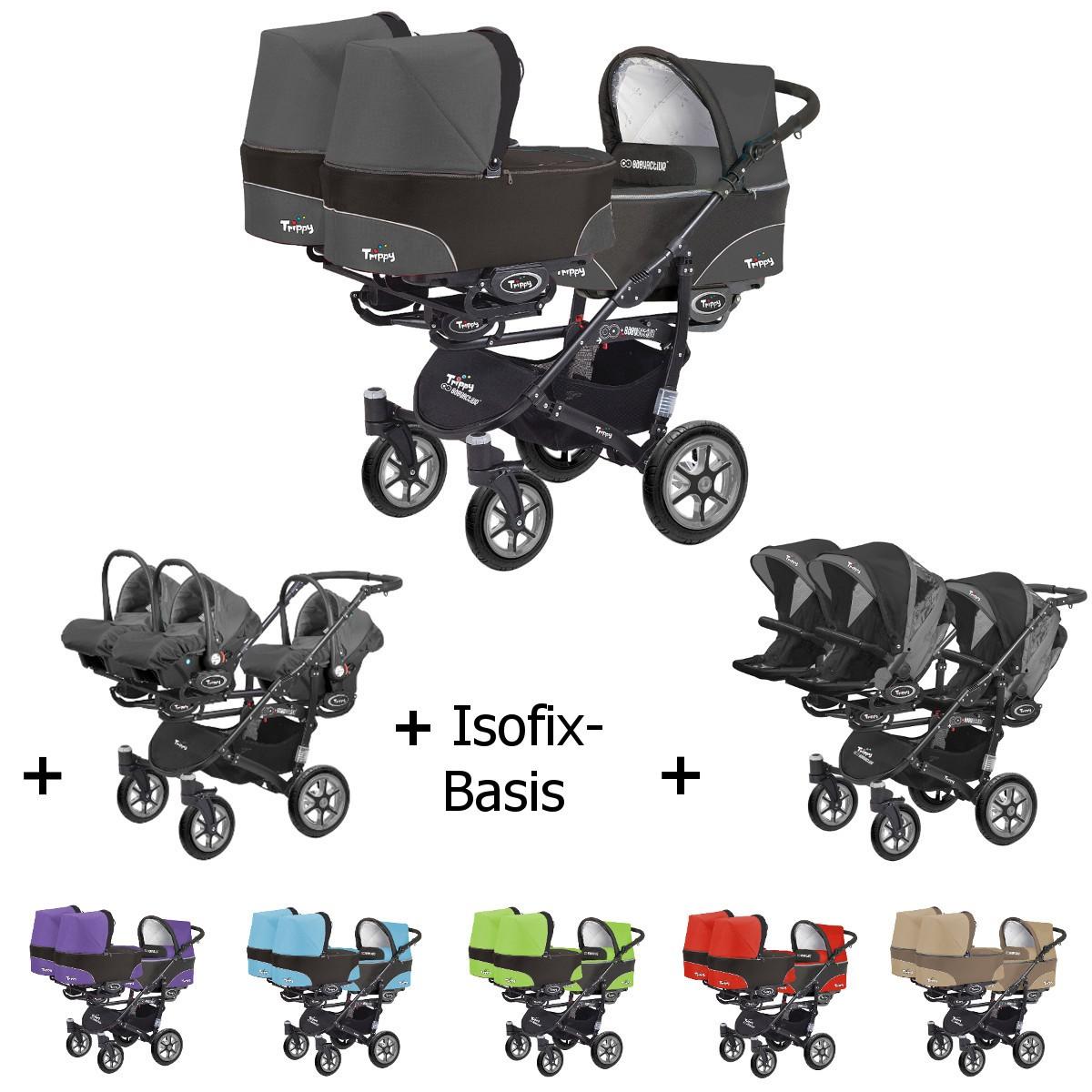 Trippy Drillings-Kombi-Kinderwagen 4in1 KOMPLETT VORTEILSSET mit 3 Babyschalen + 3 Babywannen + 3 Sportaufsätzen + 3x Isofix-Basis, 6 Farben, Gestell schwarz