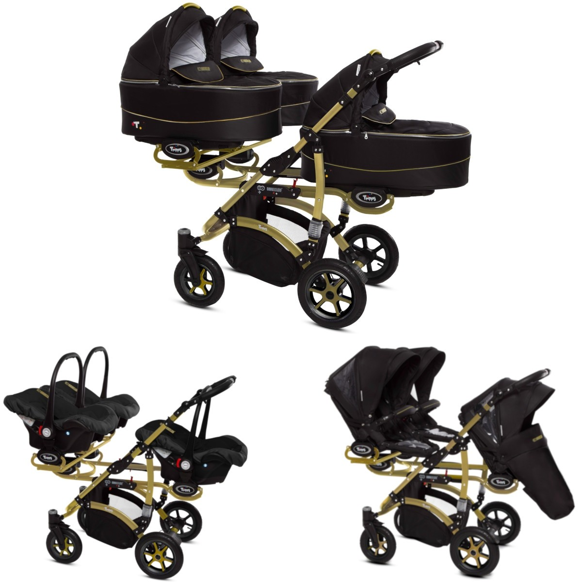 Trippy Drillings-Kombi-Kinderwagen gold 2in1 Set mit 3 Babywannen + 3 Sportaufsätzen oder 3in1 + 3 Babyschalen / Autoschalen