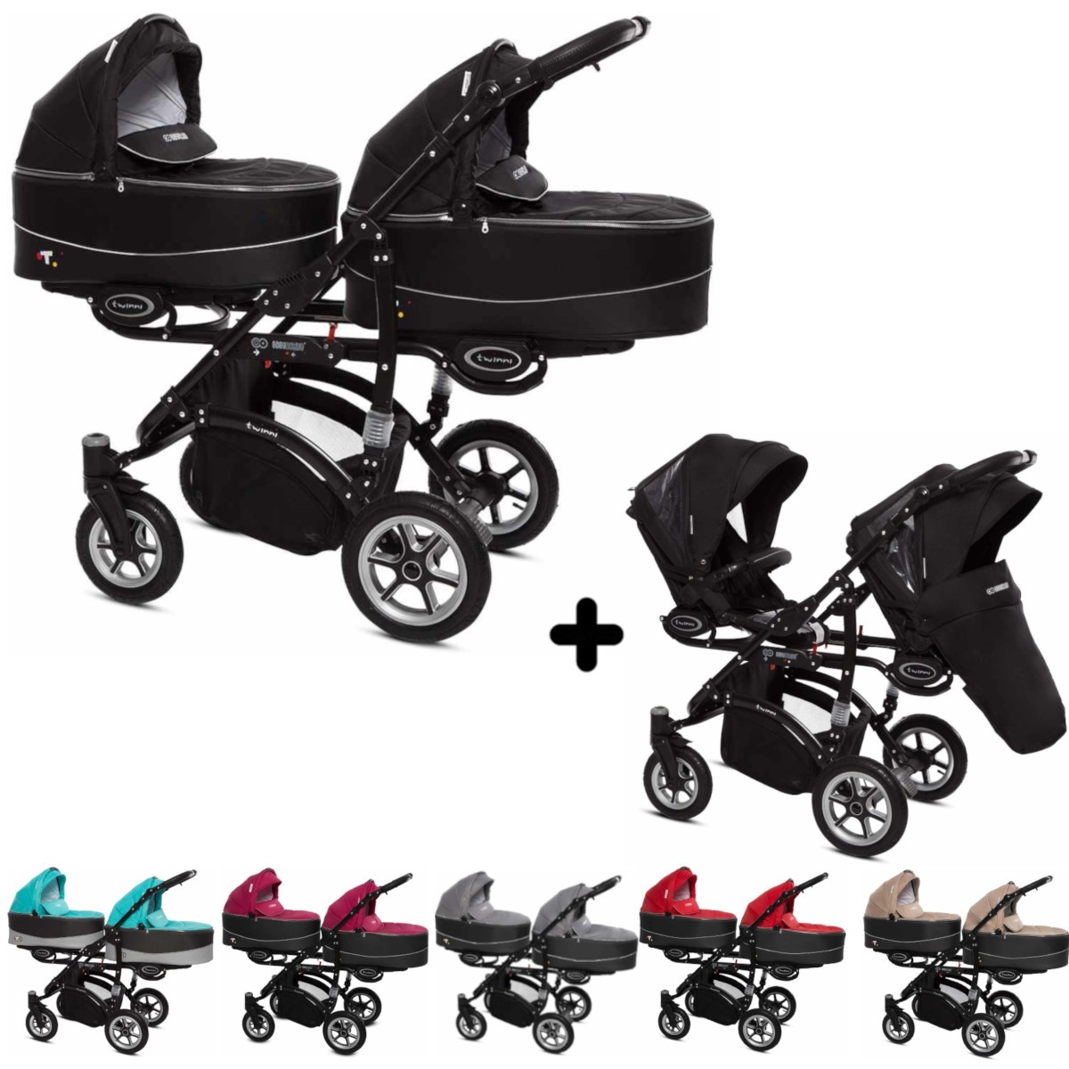 Twinni Zwillings Geschwister Kombi-Kinderwagen 2in1 mit 2 Babywannen + 2 Sportwagenaufsätzen / Buggies, Gestell schwarz, Kollektion 2018, 6 Farben
