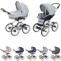 Luxus retro Kombi-Kinderwagen Navington Caravel Stoff, konfigurierbar mit Wanne oder als 2in1 mit Babywanne & Sportwagenaufsatz / Buggy, 6 Farben