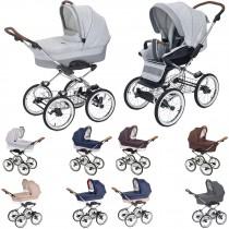 Luxus retro Kombi-Kinderwagen Navington Caravel Stoff, konfigurierbar mit Wanne oder als 2in1 mit Babywanne & Sportwagenaufsatz / Buggy, 9 Farben