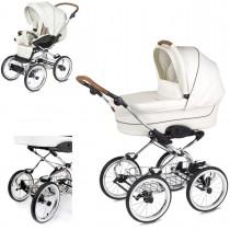 Luxus retro Kinderwagen Navington Caravel Eco-Leder, konfigurierbar mit Wanne oder als 2in1 mit Babywanne & Sportwagenaufsatz / Buggy, 2 Farben