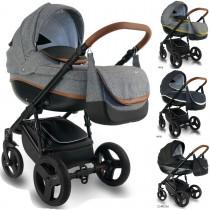 Bexa Ideal New Kombi Kinderwagen, 2in1 mit Babywanne + Sportwagenaufsatz / Buggy oder 3in1 + Babyschale / Autoschale, 4 Farben