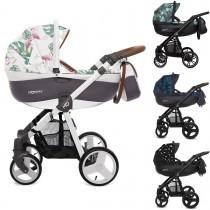 MOMMY Kombi Kinderwagen 2in1 mit Babywanne + Sportwagenaufsatz / Buggy oder 3in1 + Babyschale / Autoschale, Kollektion 2018, 4 Farben gemustert