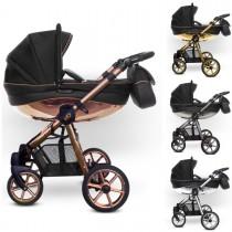 MOMMY Glossy Kombi Kinderwagen 2in1 mit Babywanne + Sportwagenaufsatz / Buggy oder 3in1 + Babyschale / Autoschale, 4 Farben