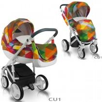 Bexa Cube Kombi Kinderwagen, 2in1 mit Babywanne + Sportwagenaufsatz / Buggy oder 3in1 + Babyschale / Autoschale