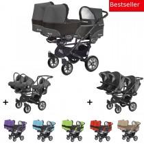 Trippy Drillings-Kombi-Kinderwagen 3in1 Set mit 3 Babyschalen + 3 Babywannen + 3 Sportaufsätzen, 6 Farben, Gestell schwarz
