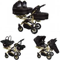 Trippy Drillings-Kombi-Kinderwagen gold 2in1 Set mit 3 Babywannen + 3 Sportaufsätzen oder 3in1 + 3 Babyschalen / Autoschalen
