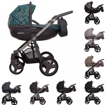 MOMMY Kombi Kinderwagen 2in1 mit Babywanne + Sportwagenaufsatz / Buggy oder 3in1 + Babyschale / Autoschale, Kollektion 2019, 2 Farben gemustert
