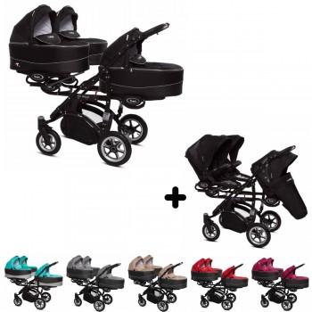 Trippy Drillings-Kombi-Kinderwagen 2in1 Set, 3 Babywannen + 3 Sportwagenaufsätze / Buggies, 6 Farben, Gestell schwarz, Kollektion 2018