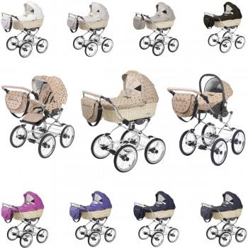 Ballerina Weidenkorb hell Kombi Kinderwagen, konfigurierbar als 2in1 mit Babywanne + Sportwagenaufsatz oder 3in1 + Babyschale, 6 Farben