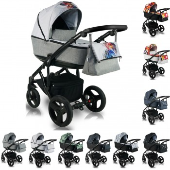 Bexa Light Kinderwagen mit Babywanne, 2in1 mit Babywanne + Sportwagenaufsatz oder 3in1 mit Babyschale / Autoschale, 10 Farben