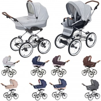 Luxus retro Kombi-Kinderwagen Navington Caravel Stoff, konfigurierbar mit Wanne oder als 2in1 mit Babywanne & Sportwagenaufsatz / Buggy, 2 Farben