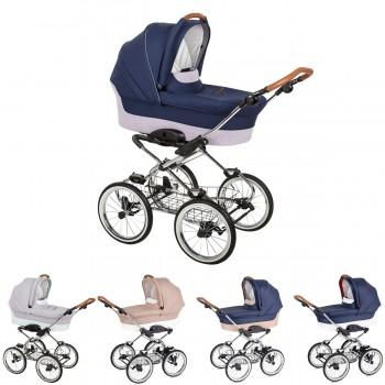 Luxus retro Kombi-Kinderwagen Navington Caravel Stoff mit Babywanne, 12 Zoll Reifen, 4 Farben