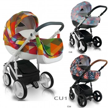 Bexa Cube Kombi Kinderwagen, 2in1 mit Babywanne + Sportwagenaufsatz / Buggy oder 3in1 + Babyschale / Autoschale, 3 Farben
