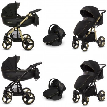 MOMMY Kombi Kinderwagen 2in1 mit Babywanne + Sportwagenaufsatz / Buggy oder 3in1 + Babyschale / Autoschale, gold magic