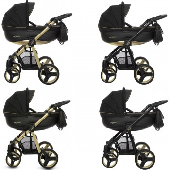 MOMMY Gold Magic Kombi Kinderwagen 2in1 mit Babywanne + Sportwagenaufsatz / Buggy oder 3in1 + Babyschale / Autoschale, 4 Farben